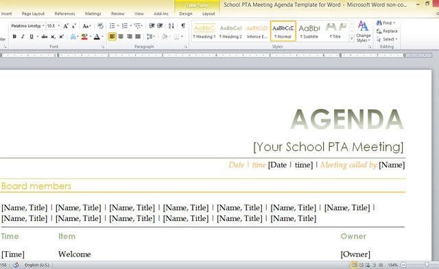 School PTA Meeting Agenda Template For Word - Agenda Template In Word