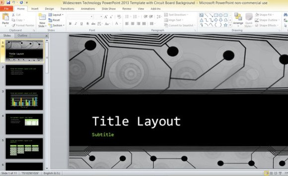 Widescreen Technology PowerPoint 2013 Template With Circuit Board