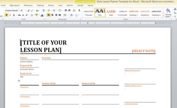 Daily Lesson Planner Template For Word - free daily lesson plan template