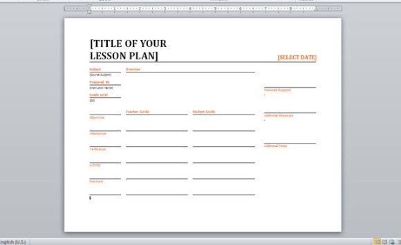 Daily Lesson Planner Template For Word - daily lesson plan template