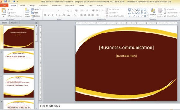 Free Business Plan Presentation Template For PowerPoint 2007 And 2010