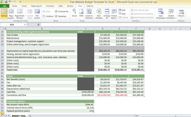Free Website Budget Template For Excel