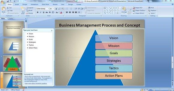 Using Pyramid List SmartArt in PowerPoint Presentations