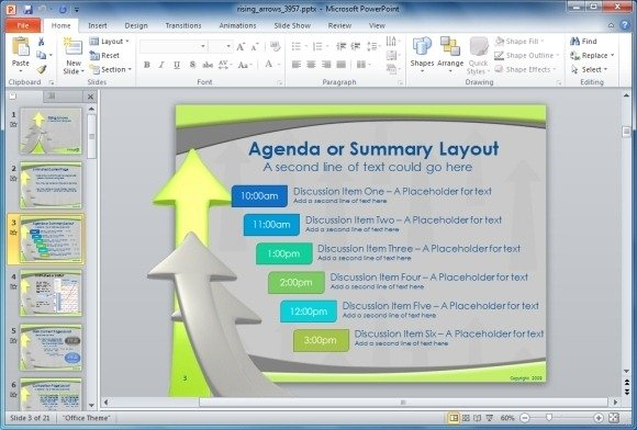 Animated Rising Arrows PowerPoint Template - power point agenda slide
