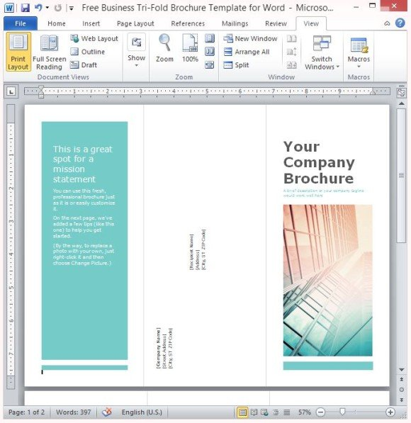 Free Business Tri-Fold Brochure Template For Word - brochure format word