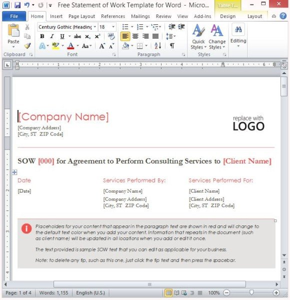 Free Statement Of Work Template For Word