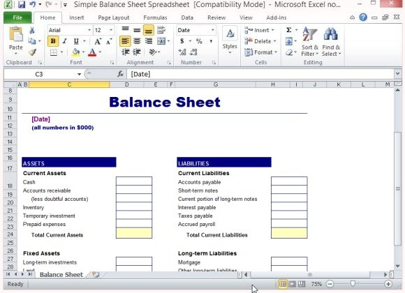 Simple Balance Sheet Template For Excel - balance sheet excel template