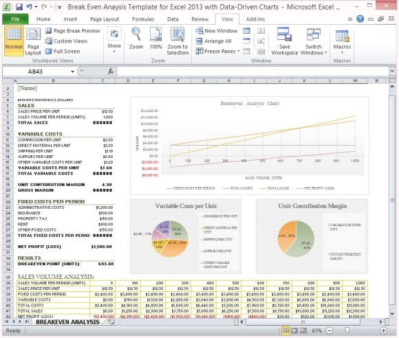 Break Even Analysis Template for Excel 2013 With Data Driven Charts - excel break even analysis