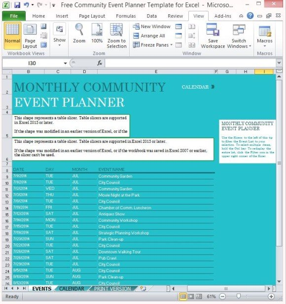 Free Community Event Planner Template For Excel - events planning template