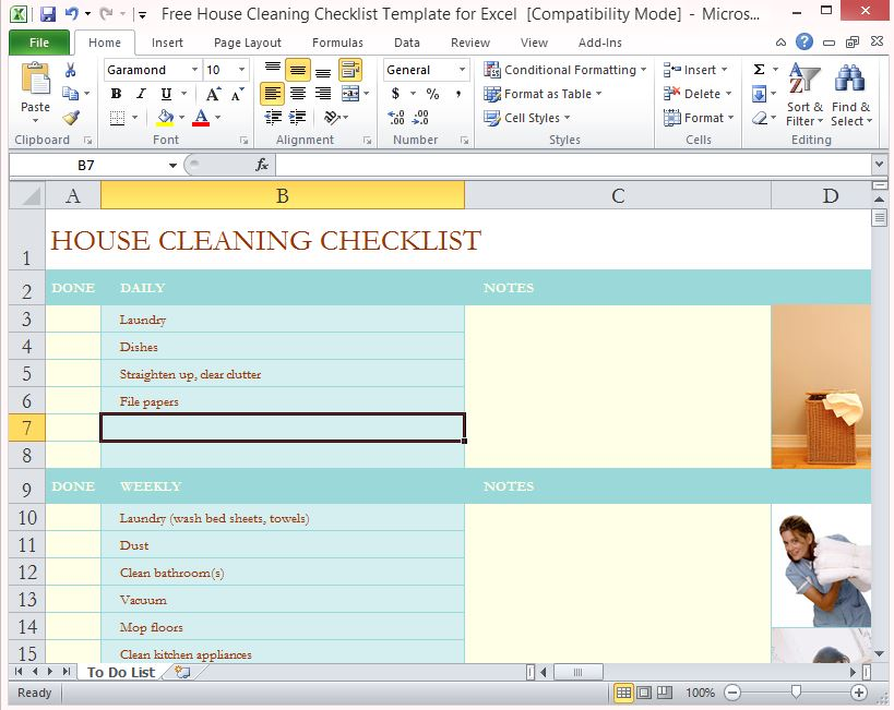 Free House Cleaning Checklist Template For Excel - housekeeper cleaning checklist