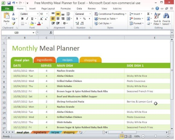 Free Monthly Meal Planner For Excel - meal plan template excel
