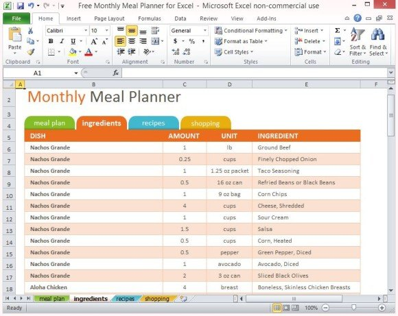Free Monthly Meal Planner For Excel - menu planner templates