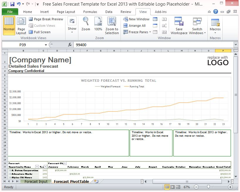 Free Sales Forecast Template For Excel 2013 With Editable Logo - Sales Forcast