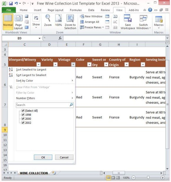 Free Wine Collection List Template For Excel 2013 - list template free