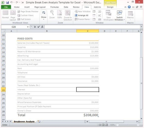 Simple Breakeven Analysis Template For Excel 2013 - excel break even analysis