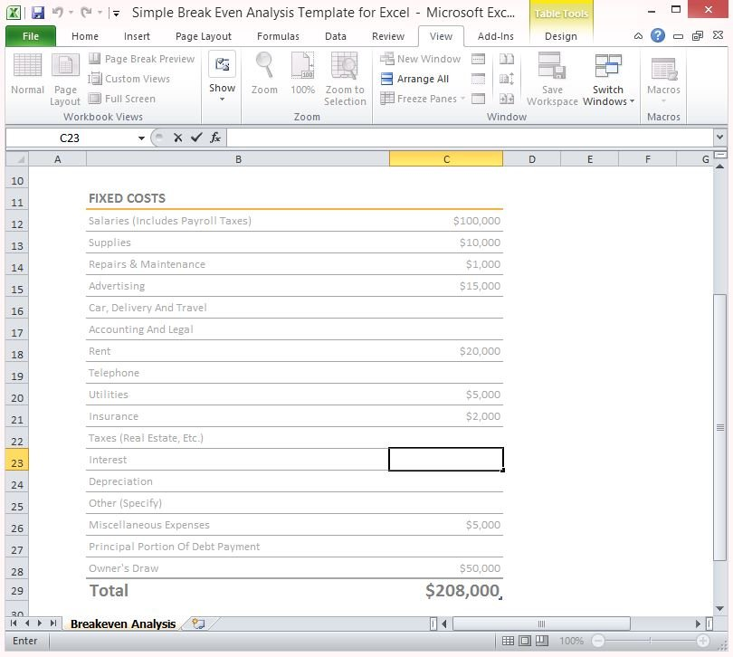 simple-break-even-analysis-template-for-excel-2 - FPPT