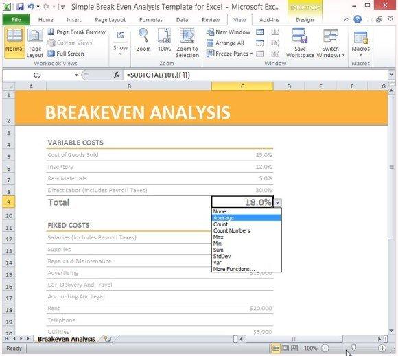 breakeven analysis excel - 28 images - break even analysis template - Sample Breakeven Analysis