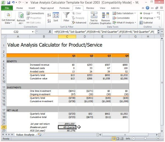 Value Analysis Calculator Template For Excel