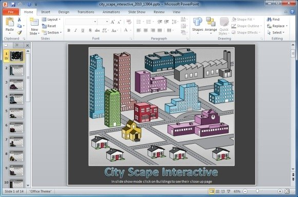Interactive Cityscape PowerPoint Template - interactive powerpoint template