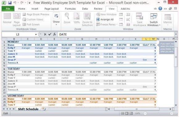 weekly employee shift schedule template
