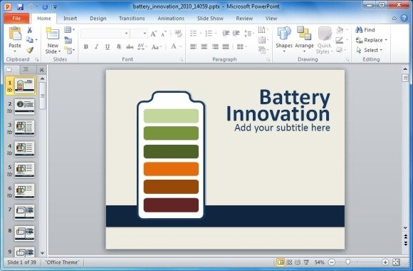 Animated Energy Innovation PowerPoint Template With Battery Shapes - interactive powerpoint template