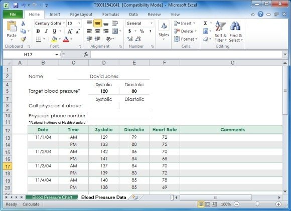 Create Your Blood Pressure Chart With Free Excel Template