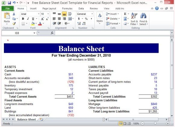 Free Balance Sheet Excel Template For Financial Reports - balance sheet excel template