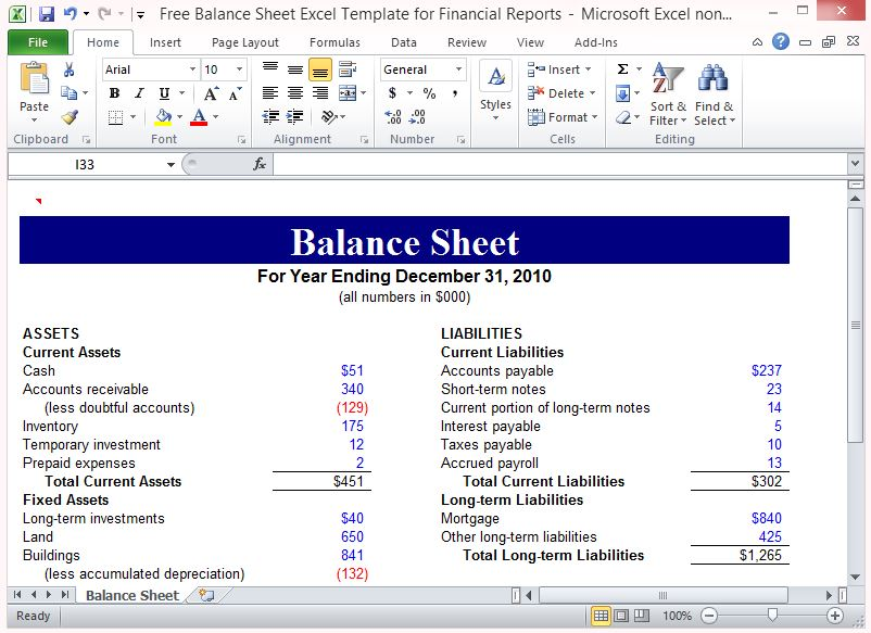 Free Balance Sheet Excel Template For Financial Reports - financial report excel