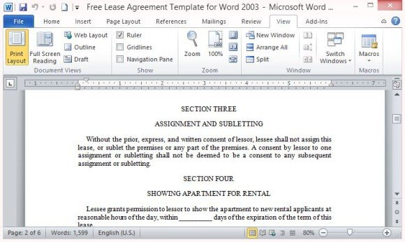 Free Lease Agreement Template for Word - free lease agreement template