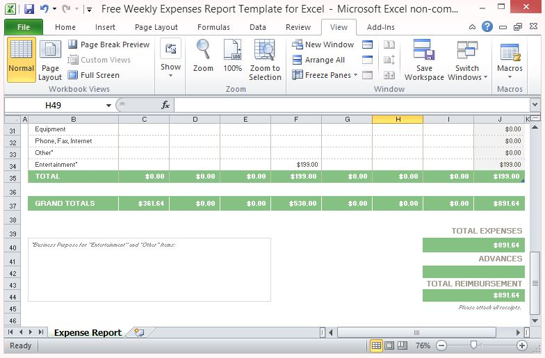 Expense Report Template Auto-Computes Weekly Totals and Grand Total