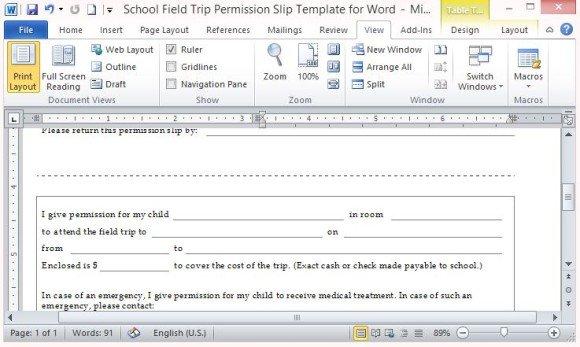School Field Trip Permission Slip Template For Word