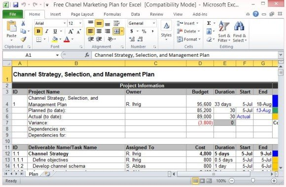 Free Channel Marketing Plan Template For Excel - market template