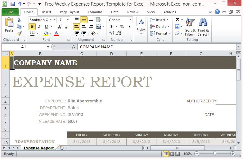 mileage expense report - generic expense report