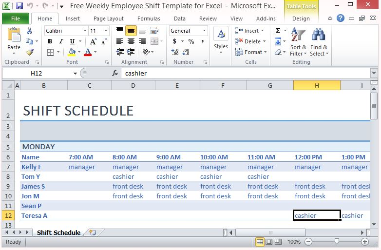 weekly shift schedule template free