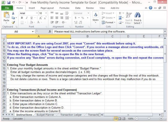 Free Monthly Family Income Template For Excel - Income Template