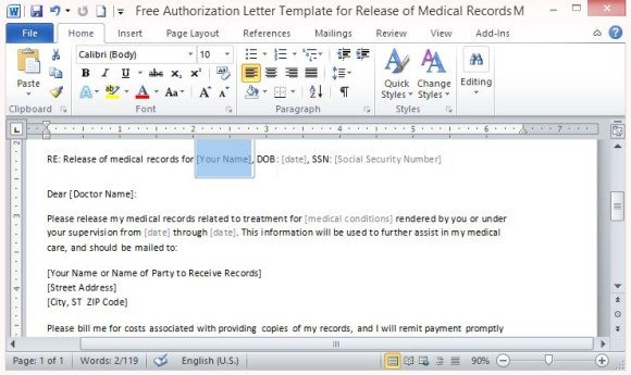 Free Authorization Letter Template For Release Of Medical Records