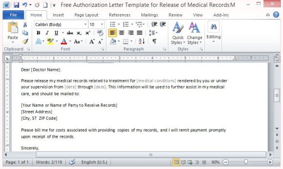 authorization letter to release medical information - Alan - sample medical authorization letter