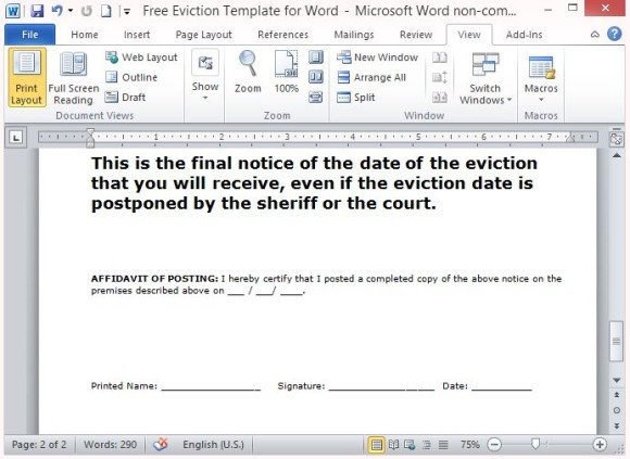 Free Eviction Template For Word - eviction notice letter