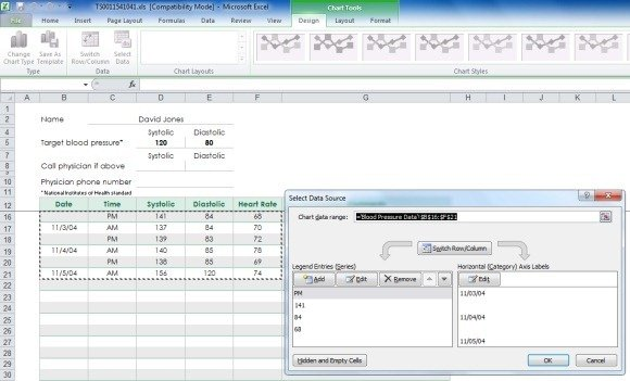 Create Your Blood Pressure Chart With Free Excel Template - how to graph blood pressure over time
