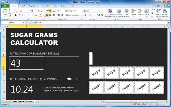 Calculate Sugar Intake With Sugar Gram Calculator Template For Excel