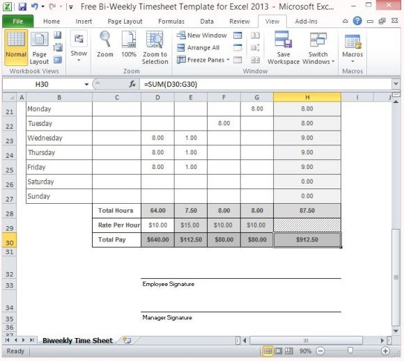 Free Bi-Weekly Timesheet Template For Excel 2013