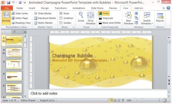 Animated Champagne PowerPoint Template With Bubbles - bubbles power point