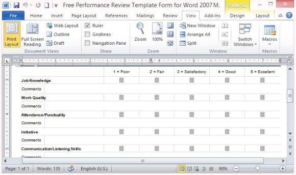 Free Performance Review Template Form for Word 2007 - performance evaluation forms free