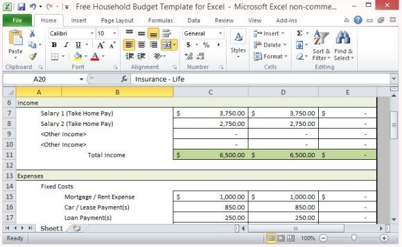 Free Household Budget Template For Excel - expense budget template