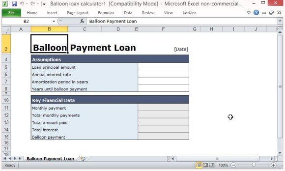 Free Balloon Payment Excel Template - monthly payment template