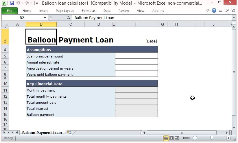 Free Balloon Payment Excel Template - Loan Calculator Excel