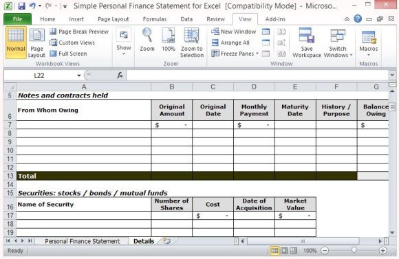 Simple Personal Finance Statement Template For Excel - asset and liability statement template