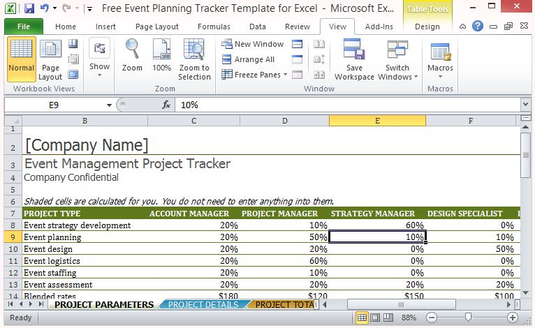 Free Event Planning Tracker Template For Excel - event planning template free