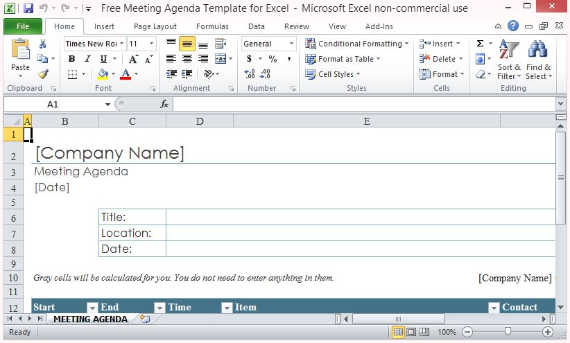 Free Meeting Agenda Template For Excel - how to create an agenda in word
