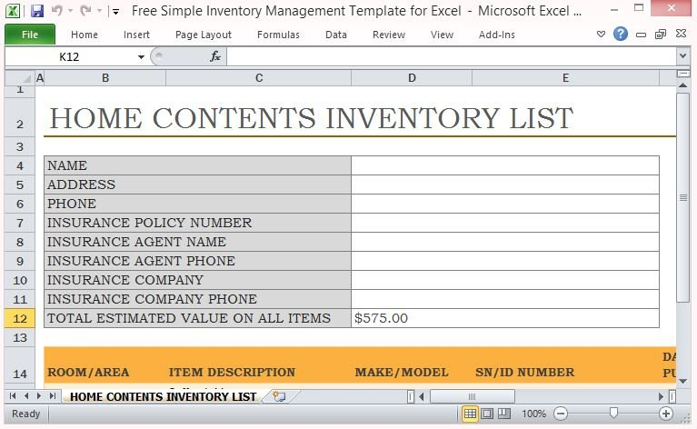 home contents inventory list template